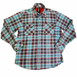Billabong Heavy Flannel Plaid Embroidered Logo Button Front Mens Shirt L